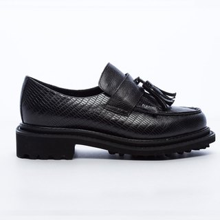 [Saint Landry] lizard grain leather tassel loafers - Classic Black