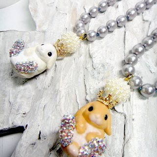 TBL white fat brown rabbit crystal necklace lovely necklace