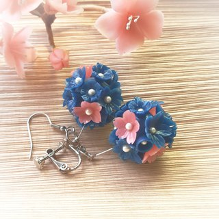 Flower series - dark blue flower ball earrings / ear hook / ear clip