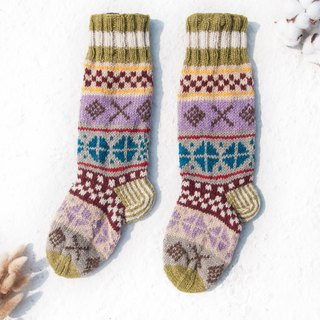Hand-knitted wool knit socks / striped socks / wool crocheted stockings / warm socks - Nordic Fair Isles