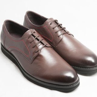 Hand-painted calfskin plain casual Derby shoes leather shoes men's shoes - brown - free shipping - E2A21-89