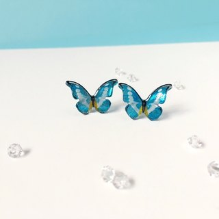* Haku‧Neko * Hand-painted white pattern blue flash butterfly earrings