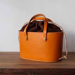 Tan Leather Bucket Handbag / Picnic Bucket Bag