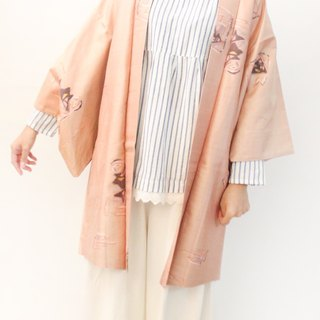 Vintage Japanese smoked pink orange and wind print vintage feather kimono jacket blouse cardigan Kimono