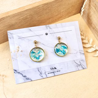 [Flower full moon] dew grass color dry flower series earrings (can be changed ear clip)