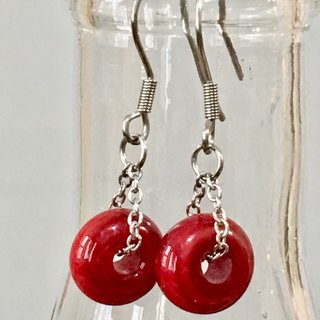 Solid Color Series - Red Opaque Glass Earrings
