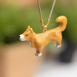 Shiba Inu dog handmade necklace from Niyome Clay.
