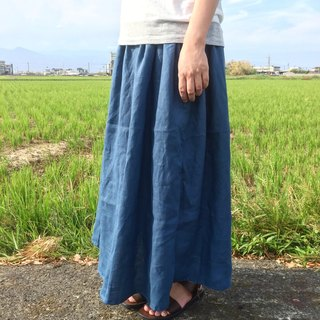 Handmade natural pure linen pocket long skirt multicolor