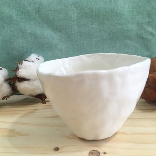 Hand pinched white porcelain bowl