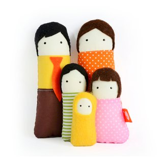 家庭 - Tiny Cushion doll - Family of dolls - Set of 5 Dolls