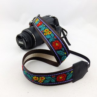 Camera strap can print personalized custom embroidered words embroidered leather stitching pattern national wind 058