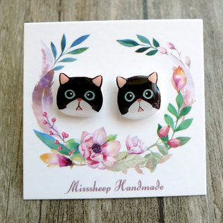Misssheep-U48- Take me home--Black-faced blue-eyed cat-made earrings (ear pin / transparent ear clip)