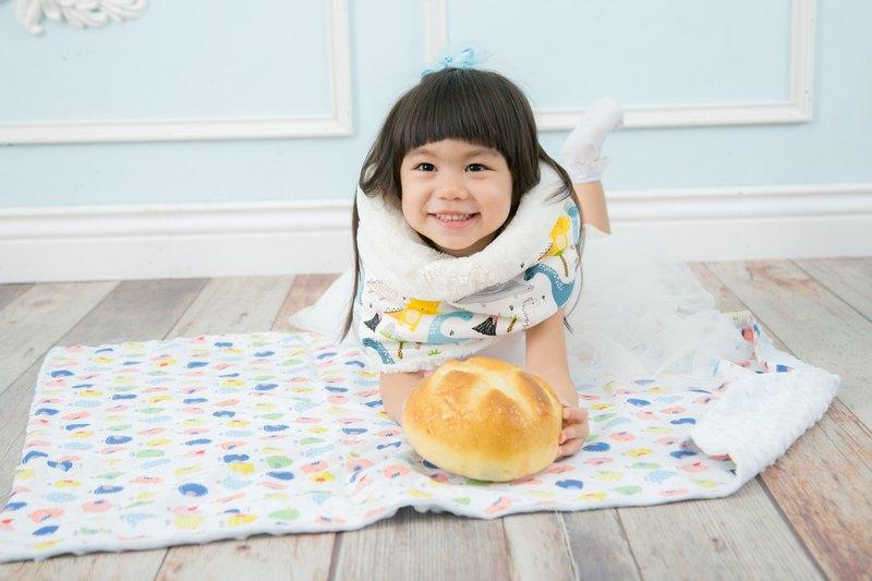 Minky多功能 點點顆粒 攜帶毯嬰兒毯冷氣毯被 藍色-小鳥