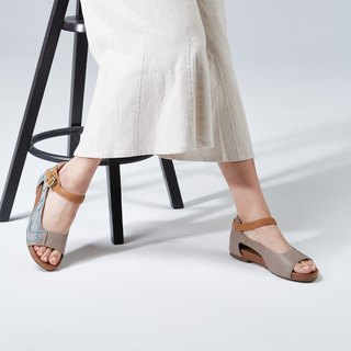 Sea Stars - Embroidered Flat Sandals (Warm Ash)