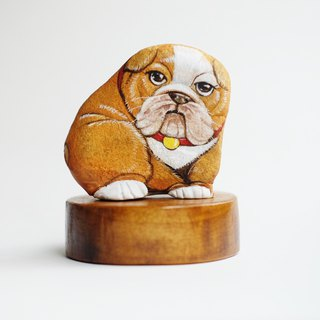 Bulldog stone painting, Original art for gift.