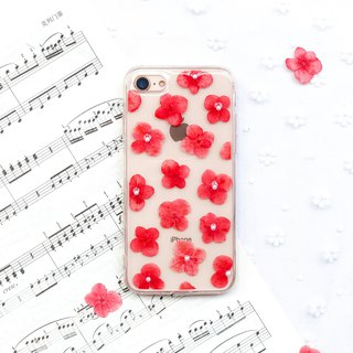 满满 红 绣球花 • Hydrangea Handpressed Flower Phone Case