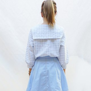 Long bishop sleeve gingham sailor blouse , loose style