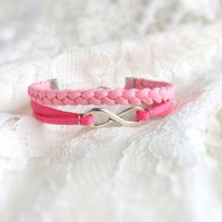 Handmade Double Braided Infinity Bracelets–pink