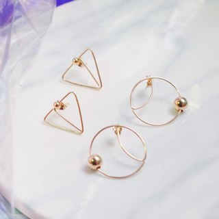 Swanlace geometric shape triangle / round minimalist hand 14kgf gold earrings earrings