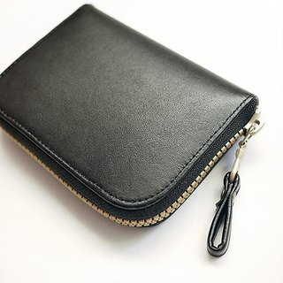 Black simple. Imitation leather short clip / wallet / wallet / purse