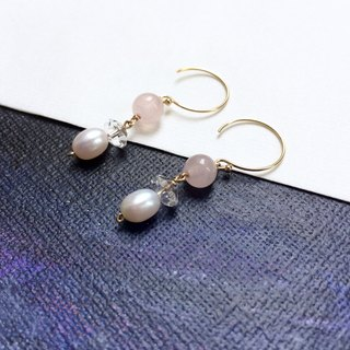 14kgf-rose quartz& white crystal pearls pierced earrings