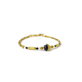 Ficelle | Handmade Brass Natural Stone Bracelet | [Blue Sands] Injured Soul