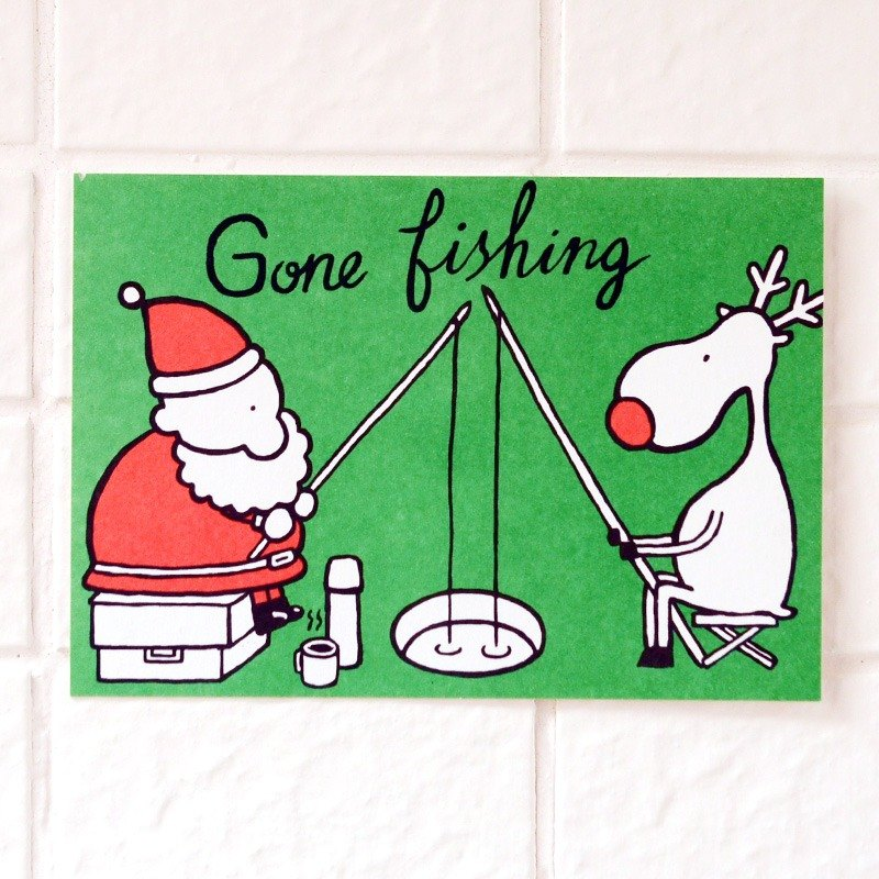 Christmas card - Santa Claus with elk postcard number 13