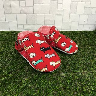 Red cat toddler shoes