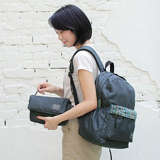 (Limited Edition) Hemp Storage Rear Backpack (A4 OK) - Heather Black Stripe _100188