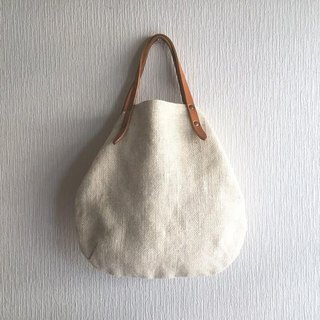 Jute (100% hemp) and round tote bag of extreme thickness oil nuts S-size 【Off White】