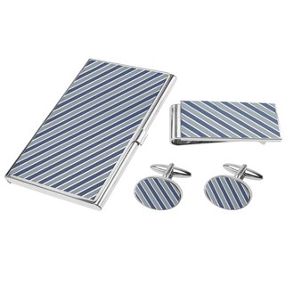 Blue Tonal Diagonal Stripes Cufflinks Money Clip and Card Holder Set