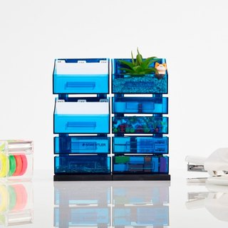 Magnetic Office Supplies Organizer - 3+6 Tier - Blue