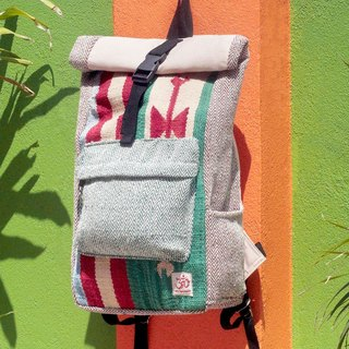Tanabata gift limited a handmade cotton and linen stitching design backpack / shoulder bag / national mountaineering bag / puzzle package - grass green Boho carpet national totem backpack