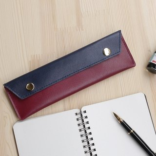 Red simple leather pencil bag