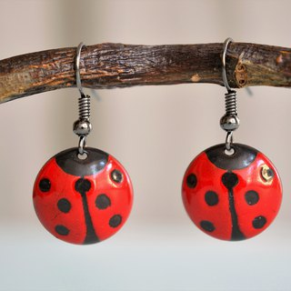 Ladybird Earrings, Lady Bug, Enamel, Jewelry, Earrings, Dotted Earrings,