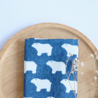 Dark blue polar bear towel/handkerchief