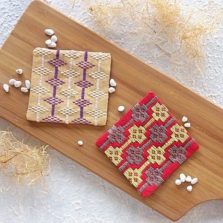 Kogin Embroidery Coaster (Japanese style)  Set of two