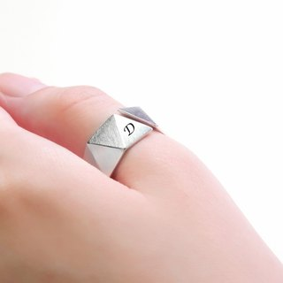 Custom Lettering Ring For The Future (Large) Triangle 925 Silver Ring - 64DESIGN