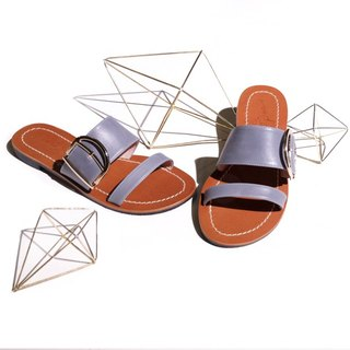 Honey wax luster! Crossing through the bright vegetable tan leather slippers blue gray full leather