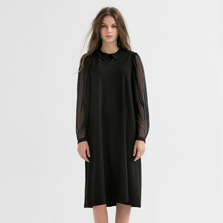 VACAE Round Neck Long Sleeve Knee Dress