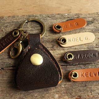 Handmade Pick Case (Genuine Cow Leather) - Brown with Orange Glimpse / Key Ring