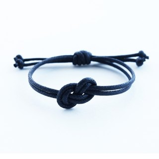 Infinity bracelet , waxed cotton cord bracelet in black