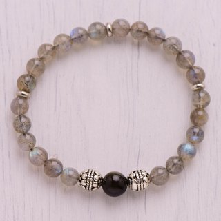 Feldspar series. safely. Labradorite / gray body moonstone 6mm + obsidian.