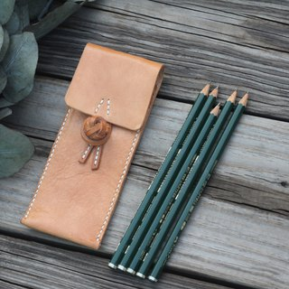 Chinese frog leather pencilcase - tanned color
