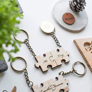 Valentines Day gift  Forever Love Wood jigsaw puzzle key ring/Charming/necklace