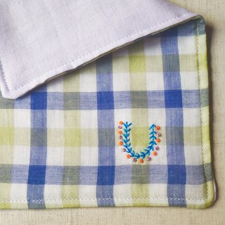 Hand embroidered quadruple gauze handkerchief  initial/order green