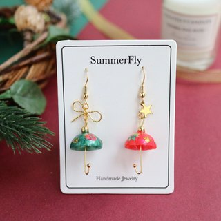 Christmas Limited - Red Green Asymmetrical Shiny Umbrella Dangle Earrings 18k Gold Bow Stars New Year