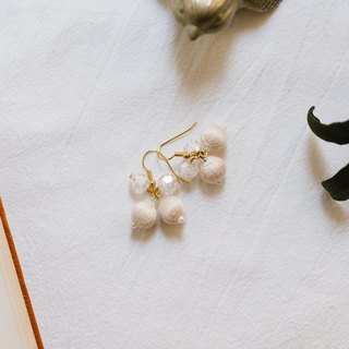 Crystal snow drop earrings cream white rice white ear hook or ear clip