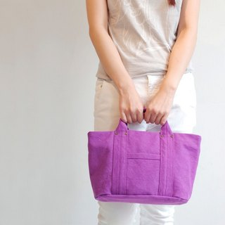 Kurashiki canvas mini tote - Dolce grape