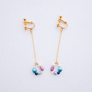 Ella Yan - blue purple crystal pearl glass beads earrings (Christmas gift)